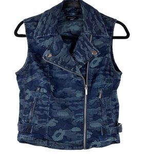 Bebe Blue Denim Camo Vest Size Small